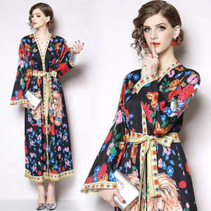 Spring Autumn black lion print women dress female Vintage elegant Floral maxi dress vestidos party dress plus size clothes