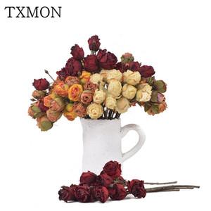 TXMON 44 cm langen retro getrocknete Rosen Simulation Bouquet home interior Bouquet Dekoration Hochzeitsdekoration künstliche gefälschte Blumen