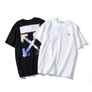 Nuovo olio bianco carattere pittura Freccia a maniche corte uomini OFF T-shirt e della coppia delle donne di usura rotonda di base della maglietta del collo