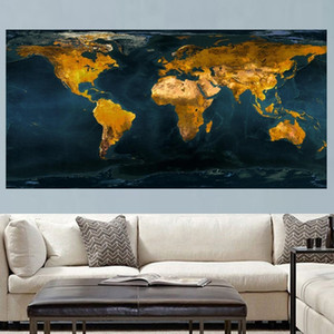 Vintage Gold Globe World Map Canvas Oil Painting Nordic Poster Prints Modern Abstract Wall Art Picture for Office Cuadros Home Decor