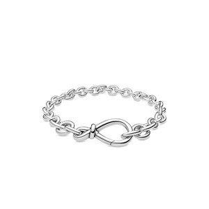 NOVO Chunky Infinito Knot cadeia de jóias Pulseira Mulheres Presente da menina para Pandroa 925 pulseiras cadeia de prata mão com a caixa original