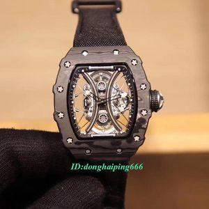 Best Quality RM 53-01 Pablo Mac Donough NTPT Carbon Fiber Case Skeleton Dial Miyota Automatic RM53-01 Mens Watch Nylon Strap Sport Watches