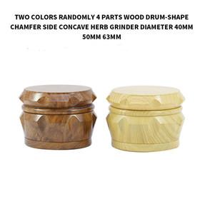 40mm 50mm 63mm 4 parts Wooden drum type Tobacco Grinder herb grinder cnc teeth filter net dry herb vaporizer pen