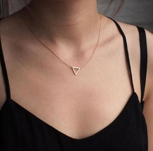 Simple Fashion Women Gold Silver Plated Hollow Out Triangle Charm Necklacae Choker Pendant Jewelry