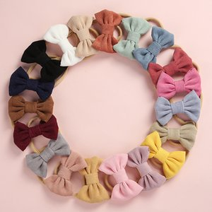 Cute Lovely Fashion Scrunchies Newborn Baby Knotted Bows Nylon Headband Super Soft Elastic Corduroy Hair Band Hair Accessories