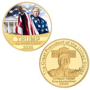 Trump 2020 Collezione monete d'oro Crafts Trump discorso commemorativo della moneta dell'America Presidente Trump Keep America Grandi monete DHF192