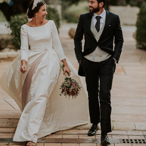 Vintage Backless Wedding Dresses with 3 4 Long Sleeves 2020 Fall Bateau Neckline Court Train A Line Split Ourdoor Bridal Gowns New Arrival