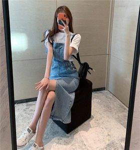 Lässige Kleider Mode 2021 Damen Sommer Strap Denim Langes Kleid Elegante trägerlose Backless Slim Thin Split Retro Party