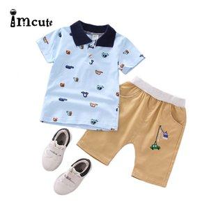 Imcute 2020 0-24M 2pcs Newborn Baby Boys Clothes Set Kid Print Car Cartoon Bodysuits Short Sleeve Tops Shorts Set