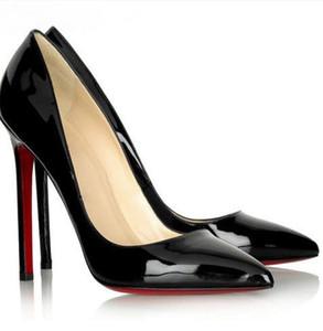 zapatos de las mujeres de la moda de diseñadores de lujo rojos de tacón alto inferiores de 8 cm 10 cm 12 cm desnuda de piel roja puntas de los pies negros bombea los zapatos (con la caja)
