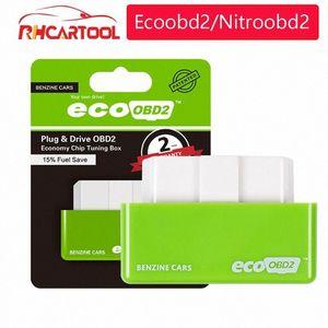 OBD2 outil de diagnostic Green Car Chip Tuning EcoOBD2 Economy Box OBD Car Fuel Saver Eco OBD2 Benzine Voitures d'économie de carburant de 15% GEVF #