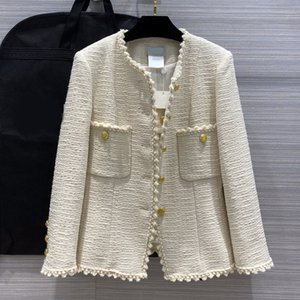 Autumn new wild woven edge temperament small V-neck waist double pocket tweed jacket coat