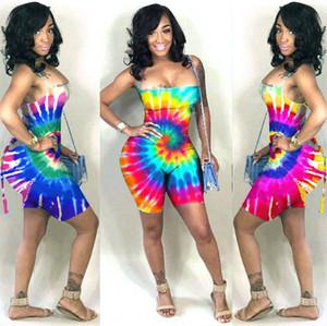 7 renk Kadınlar Tasarımcı Tulumlar tulum Yaz Giyim Tie-boya Gökkuşağı Polka Dot sapanlar ile Backless tulumları Şort Pileli Jumpsuit