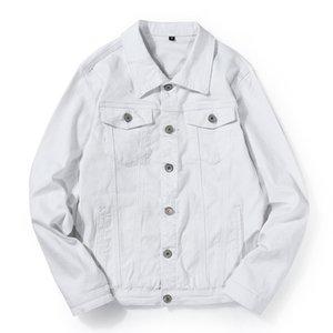 Mens Alta Qualidade Denim Jacket Turn Down Collar Sólidos roupa jeans Cor Jaquetas Black White Denim E Outono