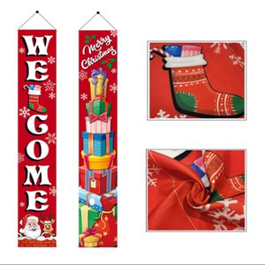 DHL FEDEX Cheapest 30*180cm Banners Merry Christmas Couplet flags 300D Polyester Outdoor indoor party decorations custom wholesale