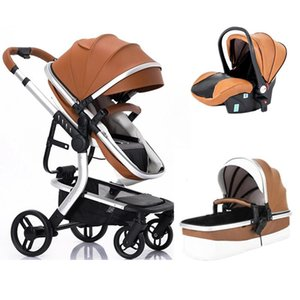 Luxurious Baby Stroller 3 in 1 Portable Baby Carriage Quick Fold PU leather Aluminum Frame High Landscape Newborn Stroller