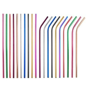 6*215mm 304 Stainless Steel Straw Reusable Rainbow Gold Metal Straight Bend Straws Drink Tea Bar Tool Drinking Straw GGA3478-6