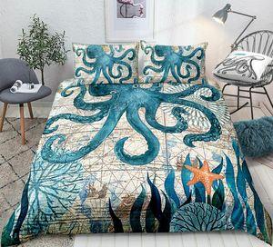Fronhas Octopus cama Set Rainha Oceano animal edredon cobrir Set King Fish retro do estilo capa do edredon azul Starfish Bed