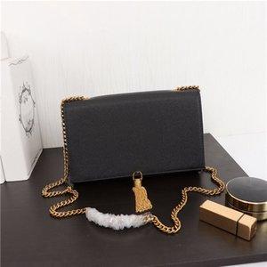 Altın gümüş siyah zincir omuz çantaları havyar deri crossbody çanta markası moda püskül kadınları kapaklı kare çanta eğik çapraz çanta