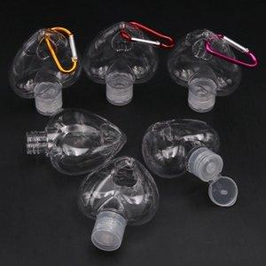 50ml di cuore gancio Bottiglia PETG Barb Bottiglia Hand Sanitizer gel trasparente trasparente Bottiglie Gel alcool bottiglia moschettone Bottiglie EEA1883