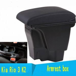 USB 제품 인테리어 자동차 스타일링 액세서리 2011 2016 자동차 Interio sdwv #와 KIA K2 RIO 3 팔걸이 상자 중앙 저장소 내용 상자
