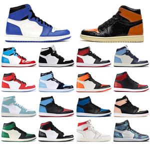 NIKE AIR JORDAN Джордон 1S обувь Баскетбол Jumpman 1 сосна зеленый черный тапок женщин Бесстрашный суд фиолетовый белый UNC Тренеров с носками