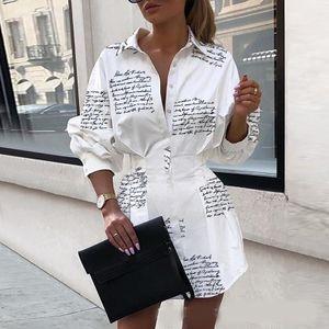 Womens Shirt Skirts Womens Designer Commuting Casual Professional Dress 2020 Fashion Waist Print Shirt Dress Lady Summer and Autumn Dresses