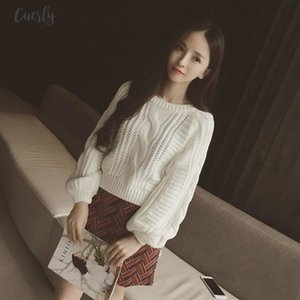 Roupas Solid Femininas Women Pull Sweaters New Yellow Sweater Jumpers Candy Color Harajuku Chic Short Sweater Twisted Pull