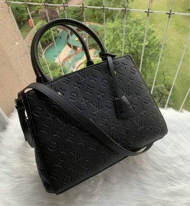 2020 Free shipping high quality genuine black embossed leather women's handbag shoulder bags crossbody bags messenger bag