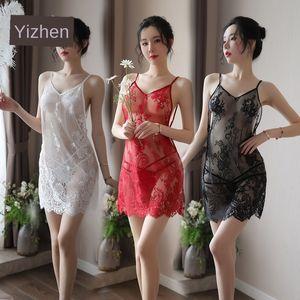Yi Yi сексуальная прозрачный Sling белье искушение сетки слинг сексуальное нижнее белье кружева сорочка внутренней покупки