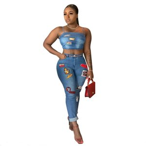 Women Fashion personality wild cloth badge affixed stickers Denim 2 Piece Set Strapless Crop Top and Jeans Matching Set Outfit