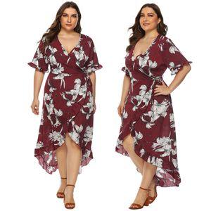 Plus Size Women V Neck Dresses Sexy Floral Print Cardigan Straps Skirt Ruffles Irregular Dresses for Ladies