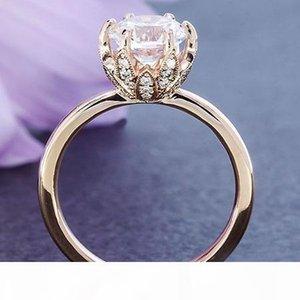 Поп High USpecial USpecial 2018. Горячая Новая мода алмаз короны кольца женские модели гальваническим 14k розовое золото цветок когтями набор циркон обручальное кольцо