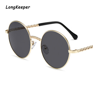 Brand Long Retro Round Steampunk Sunglasses Men Women Metal Frame Clear Lens Glasses Gothic Mirror Lens Sun Glasses UV400