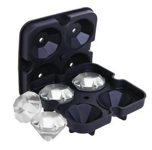 Creative Silicone Ice Cube Maker Diamond Shape Ice Mold Tray 3D Silicone Ice Cube Mold Wine Cocktail Party Bar Accessories Black Color