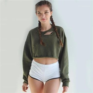 Long Sleeve Short Ladies Crop Top Casual O-neck Woman Sweatshirts Pullovers Holes Loose Womens Hoodies Solid Color