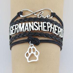 Diy Letters Germanshepherd Paw Chain Bracelet Bangle