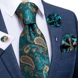 8cm 100% Seide Herren Krawatten Teal grüne Paisley-Krawatte für Männer formale Geschäfts-Hochzeit Krawatte Einstecktuch Brosche Set DiBanGu