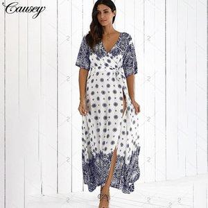 2020 Posimi Segunda impressão até mesmo roupas Longuette Sandy Beach em férias tempo uma mulher Vestido de vento