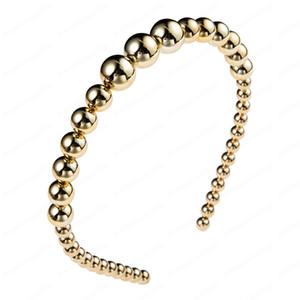 Nouvelle arrivée Fashion Style Or Simulé Perle Hairband Femme Vintage Or Couleur géométrique ronde boule de mariage bande de cheveux