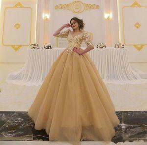 Árabe ouro vestido de baile 2020 V Neck Lace Applique Metade mangas compridas Vestido A Linha de Trem da varredura Personalizar formal do partido do vestido
