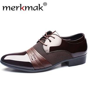 Scarpe banchetto di nozze Scarpe in pelle da uomo Merkmak Oxford PU pelle scarpe da uomo di Business Flat traspirante Uomo 48 CX200731