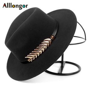 Moda Sonbahar 2020 Kış Geniş ağzına fötr şapka Kadınlar Erkekler Kayışlı Panama Caz Cap Trilby Keçe bağbozumu şapkalar chapeau feutre homme