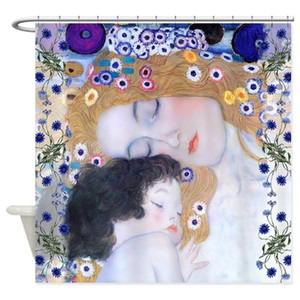 Design Gustav Klimt Mother & Child Decorative Fabric Shower Curtain Bathroom Polyester Decor