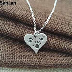 Three Hand Prints Necklace Heart Charm necklaces & pendants Mother Child Jewelry Gift SanLan