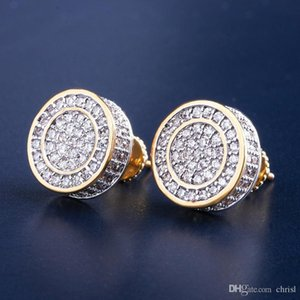 12mm Iced Out Bling CZ Round Earring Gold Silver Color Plated Stud Earrings Screw Back Fashion Hip Hop Jewelry