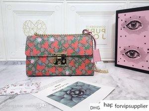 Shima chain shoulder bag 409486 leather Strawberry print Size:30x 19x 10CM