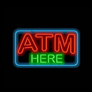 "ATM HERE Custom Neon Sign Real Glass Tube Bank Company Business Advertising Decoration Display Neon Signs With Metal Frame 17""X14"""