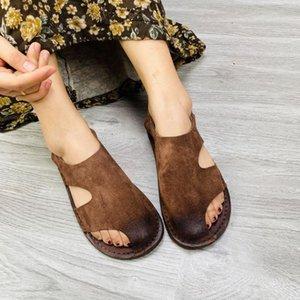 YourSeason из натуральной кожи ретро Женская обувь Повседневная Handamde Досуг Ladies Краткого швейного Hollow сандалии плоские с