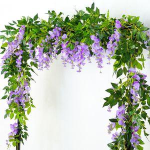 2M Wisteria Artificial Flowers Vine Garland Wedding Arch Decoration Fake Plants Foliage Rattan Trailing Faux Flowers Ivy Wall